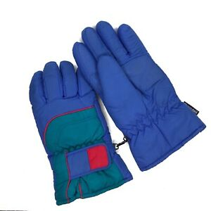 Vintage-Mens-Snow-Gloves-Ski-Winter-Thinsulate-Adult-90-s-Blue-Teal-Red