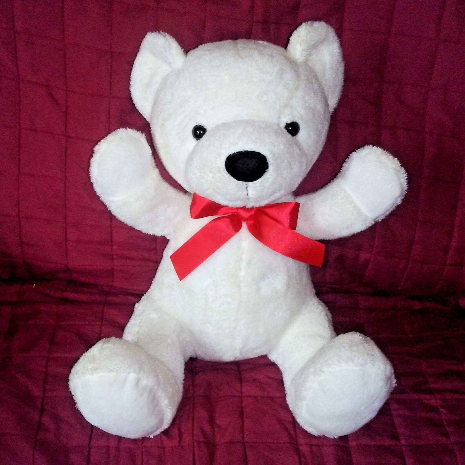 Hugfun Intl Sample TEDDY BEAR White Velour Soft 12in Sitting Plush Red Satin Bow