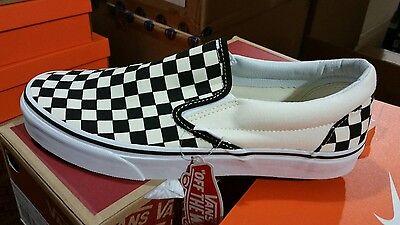 Vans Slip On Checkerboard Off White Black Checkered Mens Shoes Sizes Ebay