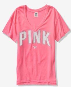 d59b748a46d52 Details about NEW Victoria's Secret PINK Black Friday Tee XS T-Shirt v-neck  perfect w/ legging