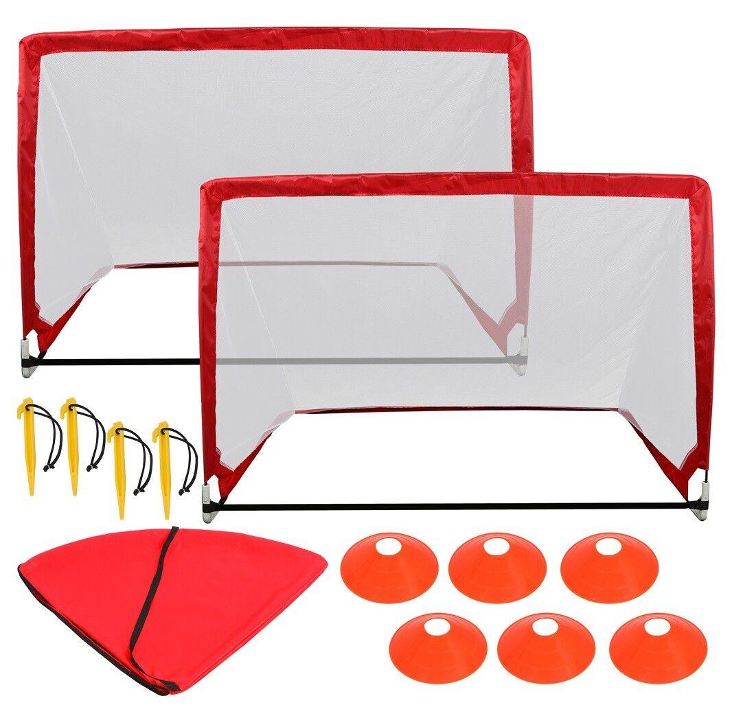 Durable Lightweight Frame Soccer Goal Portable Pop up Football Net W Cones&Bag