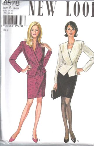 UNCUT Vintage New Look Sewing Pattern Misses Jacket Skirt 6578 8-18 OOP NEW FF