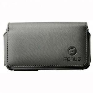 BLACK-HORIZONTAL-LEATHER-PHONE-CASE-SIDE-COVER-POUCH-BELT-CLIP-LOOPS-HOLSTER-B46