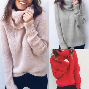 bec8c3279d Women Turtle Neck High Neck Knitted Sweater Baggy Pullover Tops Warm ...