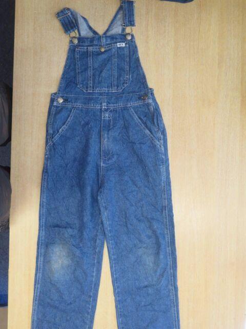 VINTAGE Cropped Denim Dungarees Overalls Jumpsuits Size 2XS UK 2