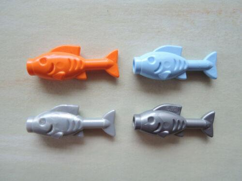 Lego 4 x Fish Fish 64648 Orange Light Blue Flat Silver Pearl Light Grey