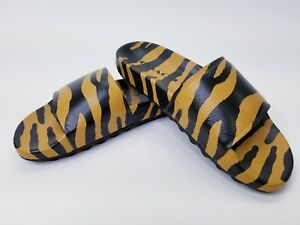 COACH-Mens-Tiger-Slides-Sandals-Leather-Animal-Print-Limited-Edition-Size-7