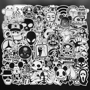 Mix-Lot-100Pcs-Noir-Blanc-Autocollants-Skateboard-Graffiti-Laptop-Bagage-Voiture-Decal