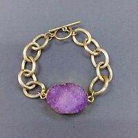 Gold Bohemian Inspired Purple Natural Druzy Stone Chain Bangle Bracelet Boho