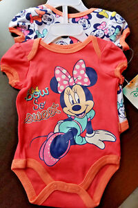 GIRLS-INFANT-DISNEY-BABY-MINNIE-MOUSE-PEACH-SIZE-6-9-MONTHS-2-PACK-BODYSUIT-NWT