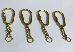 4 x Premium Solid Brass Key Rings 40mm carabiner Split Ring & Chain Blank LGW