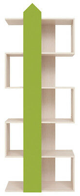 Tall Shelving Unit Bookcase kids furniture green beige unusual 75cm Arrow New