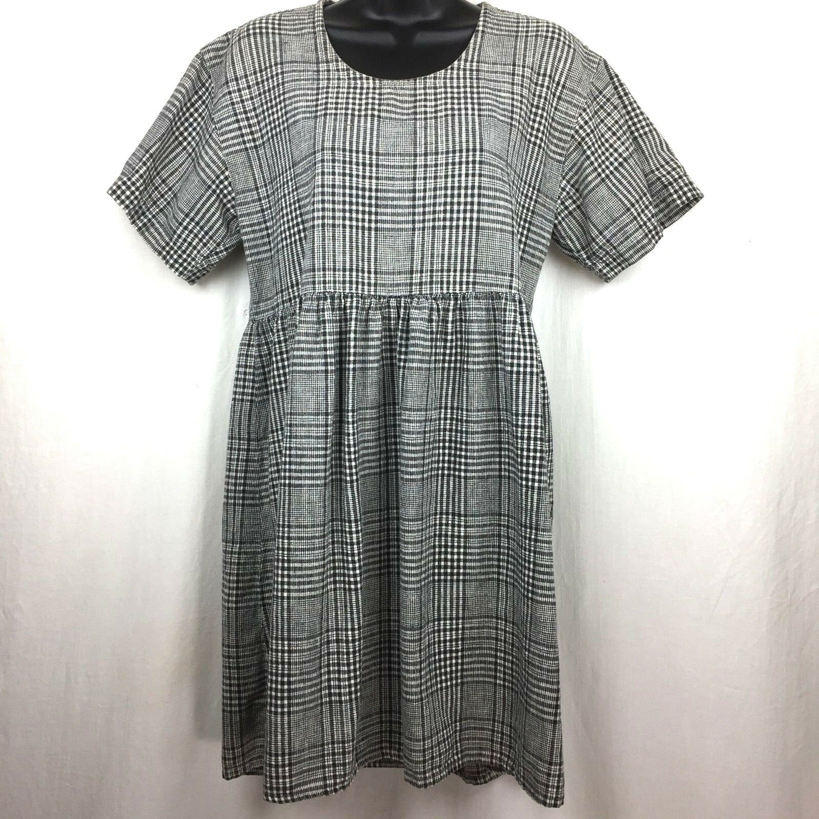 Match Plaid Black White Short Sleeve Dress Linen Cotton Blend Size S B5
