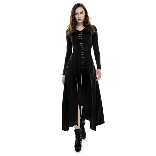 Punk Rave Black Hooded Witch Dress Gothic Halloween long sleeves Q-290
