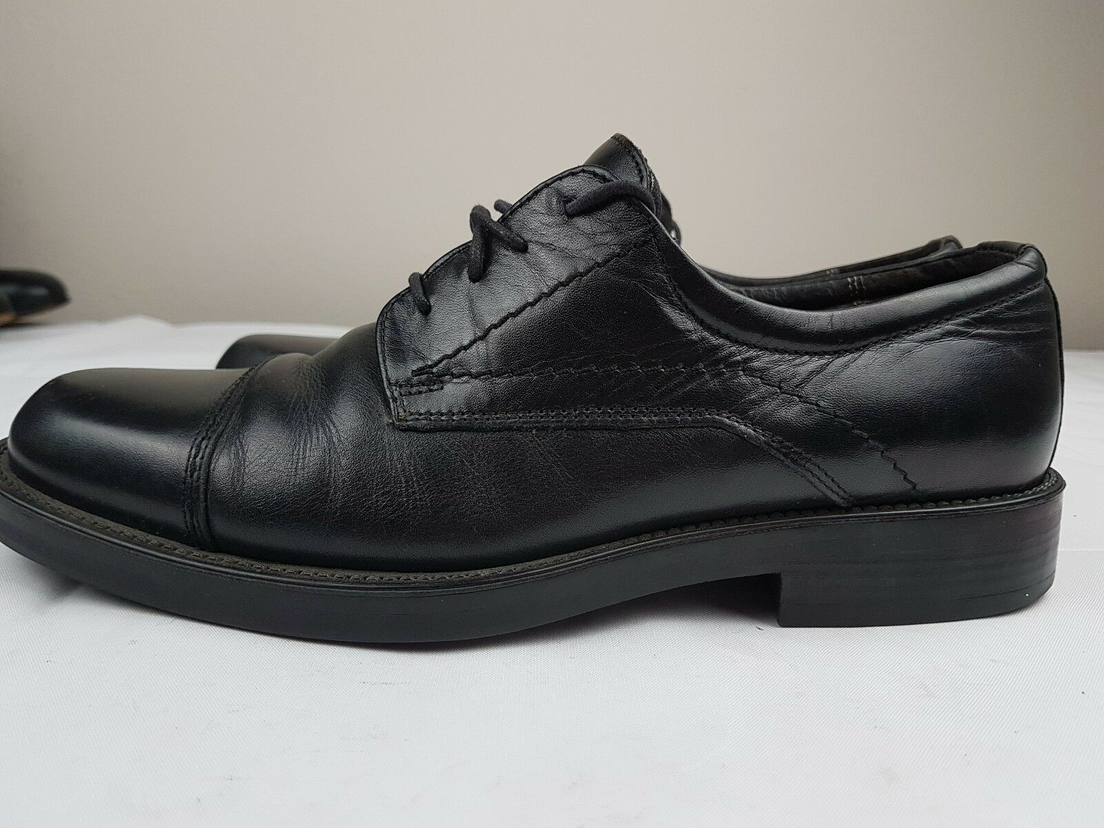 Men's Shoes Bostonian Black Leather Dress Shoes Men's Cap Toe Derby Made in Italy 9 M a24a00