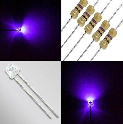 RESISTENZE OMAGGIO 10 led 3 mm UV ultravioletti TESTA PIATTA angolo grande