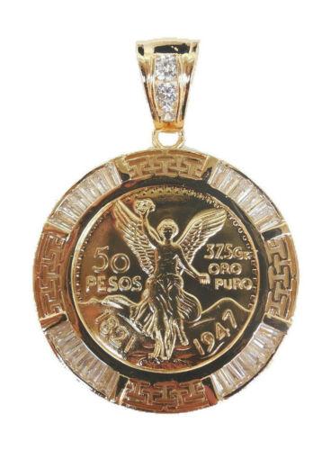 "Gold Plated Centenario Mexicano Moneda 50 Pesos CZ Pendant Chain Oro Cadena 26"""