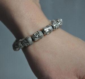 Collect-old-Tibet-silver-sakyamuni-Shakyamuni-Buddha-head-Bracelet-Bracelet-in