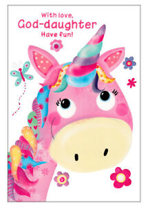 With Love, God-Daughter Have Fun, Happy Birthday Card With Cute Unicorn