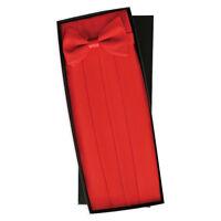 Christmas Red Heavy Silk Cummerbund Bow Boxed 29 - 54 Adj. Waist Tuxxman