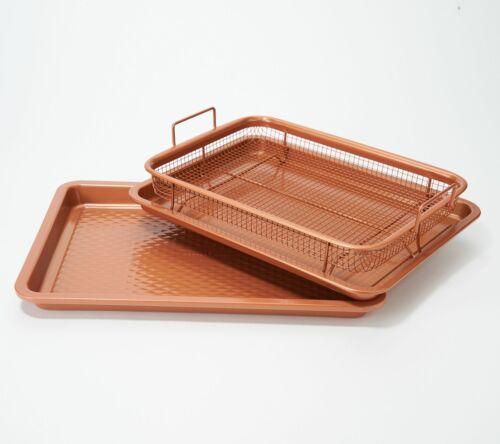 "Copper Chef Diamond 9/""x13/"" Cookie Sheet /& Medium Crisper Tray"