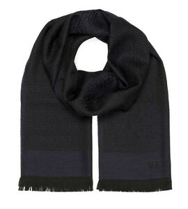 78b869db4 Versace Collection Men's Navy Blue Medusa Geometric 100% Wool Scarf ...