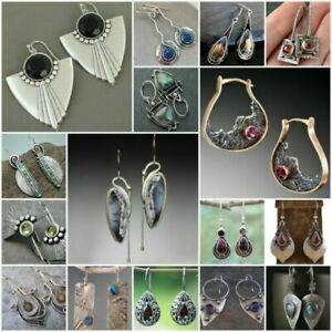 925-Silver-Ruby-Amber-Turquoise-Earrings-Sapphire-Moonstone-Ear-Hook-Drop-Dangle