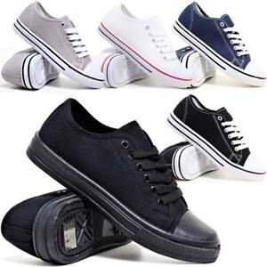 Homme-a-Lacets-Casual-Canvas-Espadrilles-Tennis-Gym-Baskets-Escarpins-Chaussures-Taille