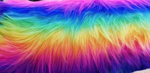 Rainbow Fur Fabric Tall Pile FREE FABRIC SAMPLES.. Multi Colour Fur Fabric