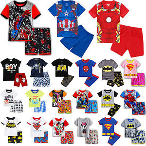 Boys-Kids-Disney-Superhero-Pyjamas-Short-Sleeve-T-Shirt-Shorts-Set-Age-1-8-Years