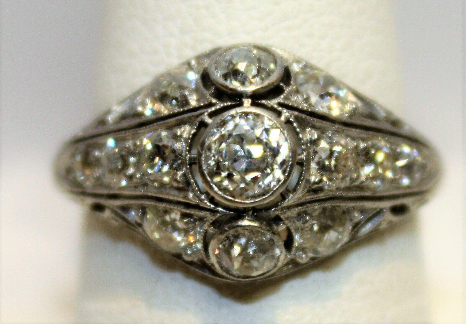 Ladys Vintage Platinum Diamond Filagree Art Deco Ring