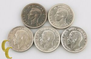 1915-1951-Great-Britain-Florin-2-Shillings-Lot-XF-BU-5-coin-1918-1945-England