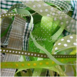 10 x 1 metre-Greens Mixed Ribbon Bundle//Pack-DIY packs-3mm-25mm Ribbons