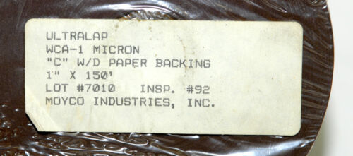 """MOYCO ULTRALAP LAPPING FILM 1 micron 1 Paper Backing um WCA-010 1/"""" x 150ft"""