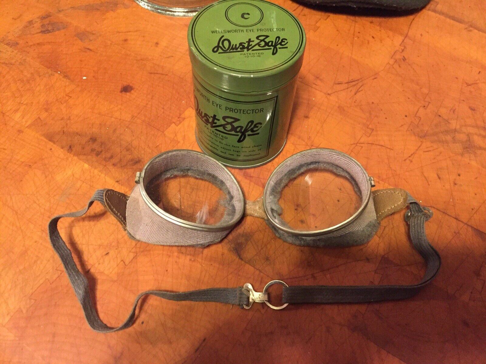 Vintage Steampunk Wellsworth Safety Goggles Motorcycle Aviaton Eye Predection