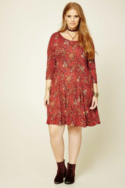 Forever 21 Plus Size Rust Lace Up Back Floral Paisley Dress XL/1X