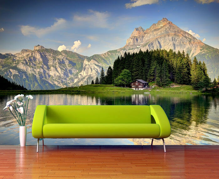Switzerland Lake Scenery Alps Full Wall Mural Photo Wallpaper Printed Home Decor