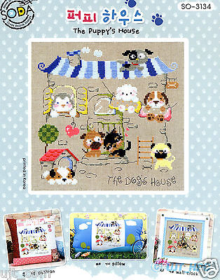 """Puppy House"" Counted cross stitch chart.(pattern leaflet) SODA SO-3134"