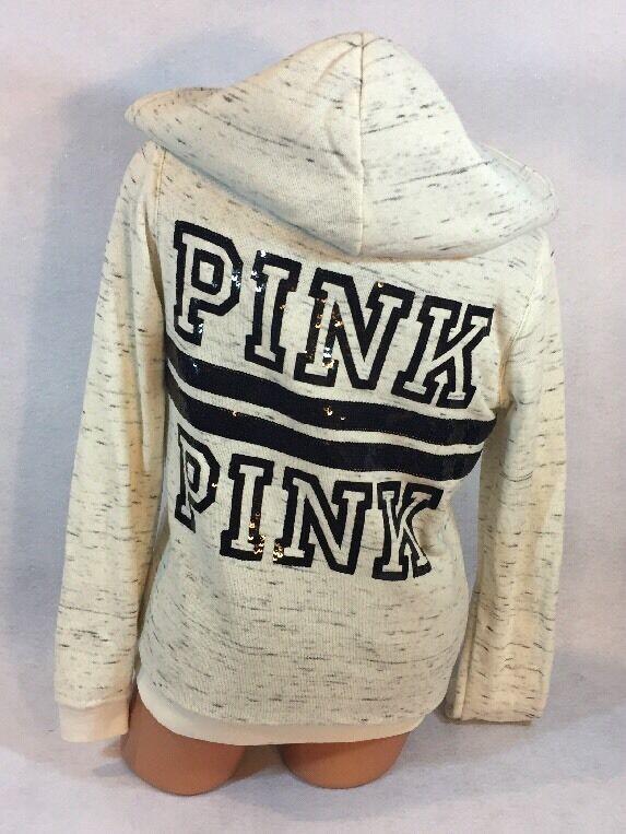 Victoria's Secret PINK Super Cute Bling Fur Front-Zip Hoodie Size M
