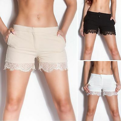 Women's Scalloped Lace-Trimmed Shorts - S / M / L / XL