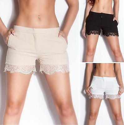 Women's Scalloped Lace-Trimmed Shorts - S / M / L / XL