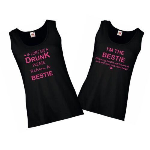 Funny Printed Ladies Vest Tops  If lost or drunk return to Bestie Printed