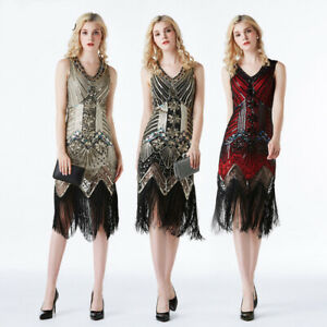 Women-039-s-V-neck-1920s-Great-Gatsby-Flapper-Fringe-Beaded-Party-Prom-Vintage-Dress