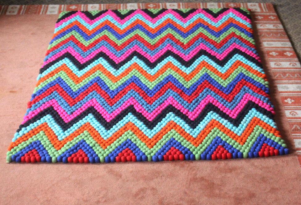 Farbeful Felt Floor Carpet- Pattern Felt Rugs made of Felt Balls FR035