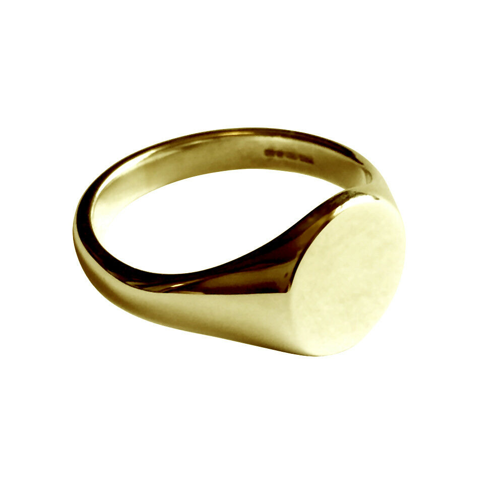 NEW 9ct gold Round Signet Rings Solid UK Hallmarked Men's Women's & Gift Box