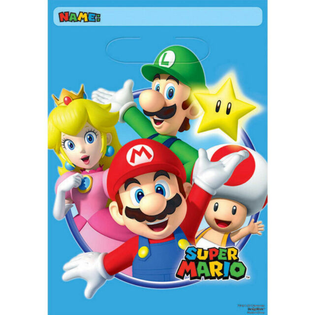 Party Supplies Decorations Birthday Nintendo Super Mario Favor  Loot Bags Pk 8