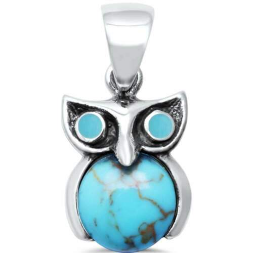 Turquoise Owl .925 Sterling Silver Charm Pendant Trendy