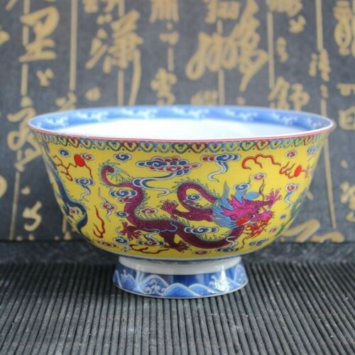 Chinese old porcelain Blue and white porcelain colorful bowl Panlong bowl
