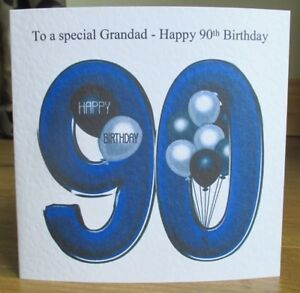 Image Is Loading Personalised Handmade Balloons 90th Birthday Card Dad Grandad