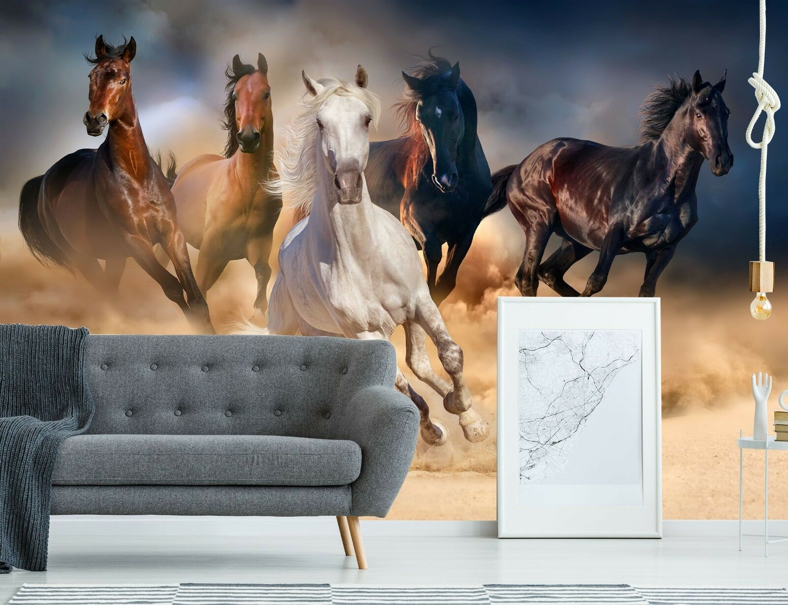 3D Sky Land Horse Group 44 Wall Paper Wall Print Decal Deco Indoor Wall Mural CA